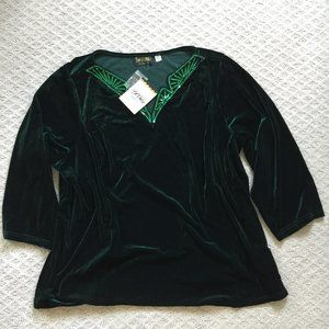 NEW Bob Mackie Wearable Art Velvet Sequin Top 3X